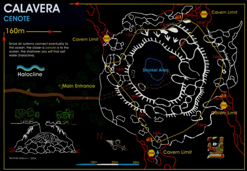 Cenote Calavera Map